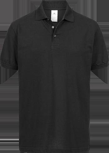 Poloshirt (m) <br> B&C Safran schwarz