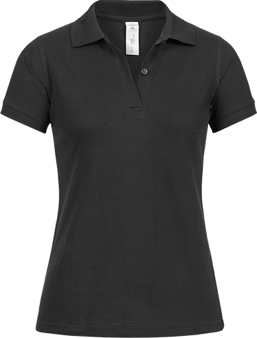 Poloshirt (w) <br> B&C Safran schwarz